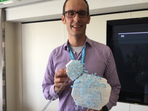 Jacky with his 'Blue Peter' style model of a Kiwi