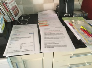 Paperwork for the week ahead out on display on the worktop