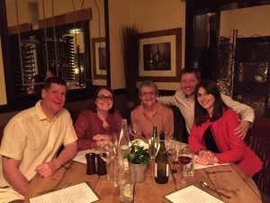A wonderful meal last night with my 2 most wonderful daughters, Sarah and Gemma and their 2, equally significant others!, Adam and Stuart - a very happy bunny in the middle........😊